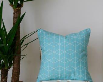 "16"" Pastel Blue Cube Cushion for Gender-Neutral Nursery Room, Children's Room or Playroom"
