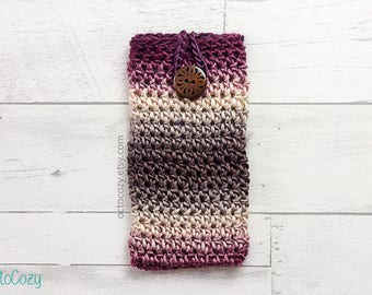 Mobile Phone Case, iPhone Cover, Handmade Crochet Berry (Garnet) Grey Phone Cover/Pouch