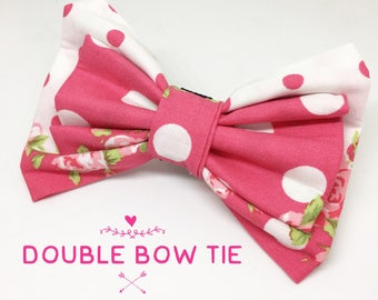 Polka dot pink flower bow tie- Floral bow tie- Pet supplies- Pet bow tie- Dog accessories- Pink floral dog bow tie