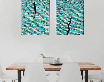 Set of 2 Dot Design Aboriginal Style Abstract Paintings, 12''x9'' stretched canvas, abstract set, abstract art, dot art, dot painting