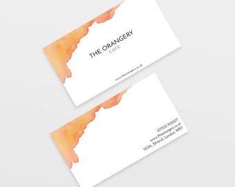 Custom Business Card, Personalised Business Card, Watercolour Business Card, Calling Card, Business Card Design, Orange Business Card