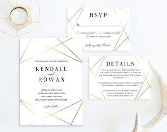 Geometric Wedding Invitation Suite Modern Wedding Invitation Set Printable Gold Wedding Invitation Set Gold Invitation Printable Invite GL1