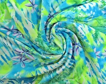 1.5 yd Swimsuit Material ~ Lycra Spandex nylon fabric ~ Green Blue Purple Floral Design~Neon Palm Tree Stretch swimwear bathing suit leotard