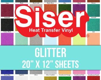 """Siser Glitter Heat Transfer Vinyl Sheet 20"""" x 12"""" Iron On HTV"""