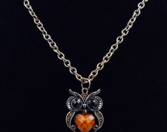 Vintage Owl Pendant Orange Stone Necklace Statement Antiqued Silver Gold Tone