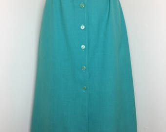 Vintage 1960's Teal Skirt with Buttons down the front by Pea Pod