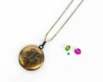 """Antique Monogrammed 10K Gold Filled Locket - Round """"H"""" Pendant Necklace - SKM Locket S.K. Merill Co Early 1900s Edwardian Initialed Jewelry"""