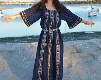 70s Crochet Banded Kaftan, Bohemian Bell Sleeve Dress, Sz L