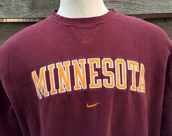 Nike University of Minnesota Sweatshirt / Vintage Minnesota Sweatshirt / Golden Gophers Crewneck Long Sleeve Nike Shirt Men's Large