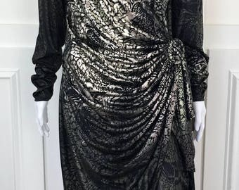 1990s Susan Roselli for Vijack Black & Multicolor Metallic Tiger Wrap Vintage Dress (Size 13/14)
