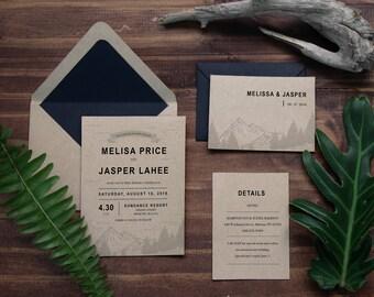 38. Sample-Rustic Mountain Ridge Wedding on Kraft paper Monogram, Misty Mountain Range in White Ink Outdoor Woodland Destination