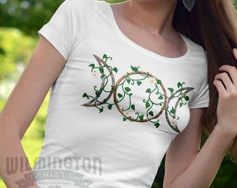 Triple moon shirt, Pagan clothing, pagan shirt, earth element, original artwork, wiccan clothing, wiccan shirt, wiccan gifts, triple goddess
