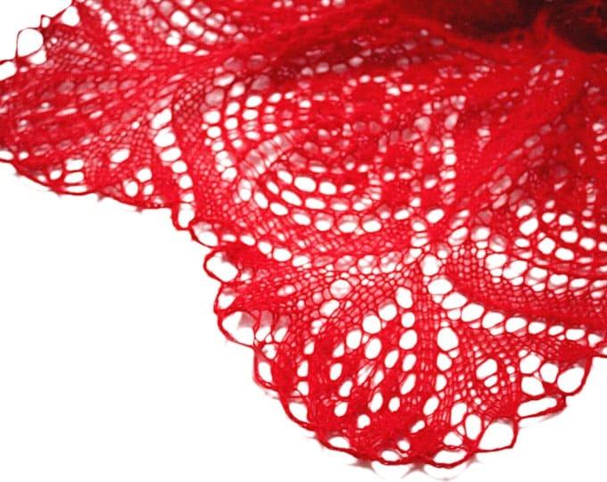 Knit shawl, knit scarf, crochet shawl, knitted scarf, shawl of mohair, knitted shawl, delicate shawl, red shawl, lace shawl, hand knit shawl