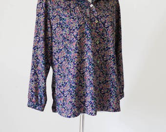 Vintage Blouse / Colorful Vintage Button Up Blouse / Vintage Clothing / 90s Patterned Blouse / Purple Button Up Collared Blouse / 1990s