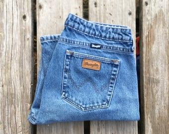 """Wrangler 32"""" Dark Wash Boyfriend Vintage Jeans"""