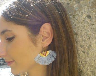 Pierced ears-KACHINA-ethnic-tassels-Cork leather