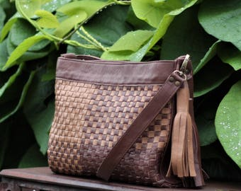 Shoulder Bag, Woven Leather Bag, Brown Leather Bag, Natural Leather Purse, Leather Bag, Natural Leather Bag, Crossbody Bag, Bag with Tassels