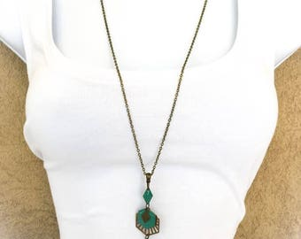 """trendy and chic sequin """"bronze/turquoise"""" necklace"""