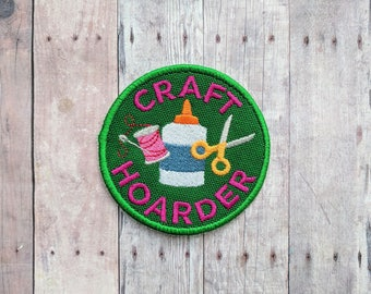 Craft Hoarder Patch, Crafty Merit Badge, Embroidered Canvas with Glue, Thread, Scissors and Pink Text, Choice of Finding, Made in USA