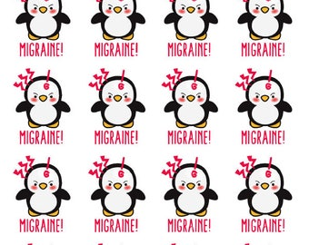 Penguin Migraine Planner Stickers - All Planner Sizes - Erin Condren, Happy Planner, Recollections, Paper Plum, TN