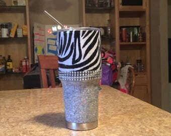 Glitter stainless steel tumbler, ombré, to go cup, coffee, iced coffee