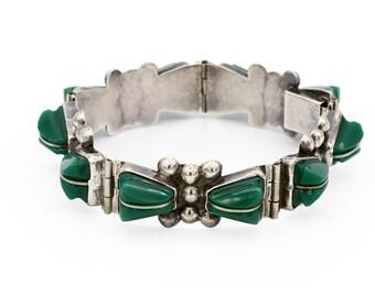 Del Rio Jewelry, Panel Link Bracelet, Antique 1930s Sterling Bracelet, Ethnic Mexican Jewelry, Handmade Tribal Bracelet, Frida Kahlo Jewelry