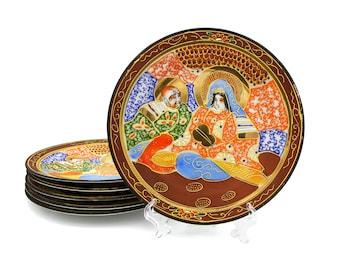 Takito Japan Dishes, Moriage Kyoto Satsuma, Immortal Ghosts, Hand Painted Decorative Plates, Antique 1920 Plates, Vintage Japanese Porcelain