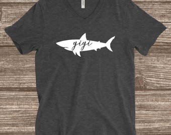 Gigi Shark Dark Heather Grey T-shirt - Gigi Shark Shirt - Gigi Shirts