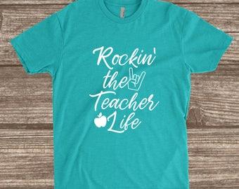 Rockin' the Teacher Life Tahiti Blue Unisex T-shirt - School Teacher Shirt - Teacher Shirts