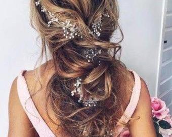 wedding flower hairpiece, bride long hair vine, crystal, pearl