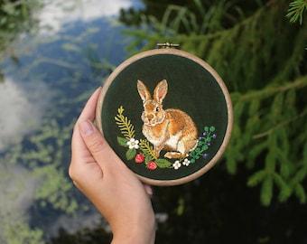 Rabbit embroidery  art, embroidery hoop, hoop art, home decor, painting, needlepainting