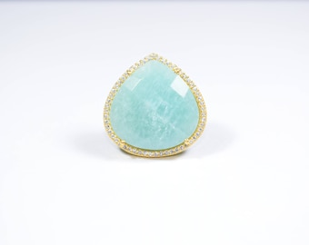 Amazonite Ring, Adjustable ring, Stack ring, Amazonite Cz Ring, Green color ring, heart shape ring, December Birthstone ring, Pave ring,