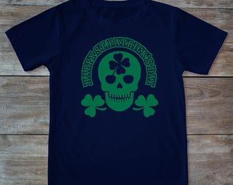 Saint patricks day, st patricks, saint patricks day shirt, saint patricks day tee, skull shirt, clover shirt, adult saint patricks day shirt