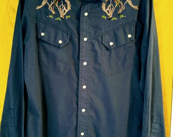 Vintage Men's Blue Kennington Rocking K Ranchwear Shirt
