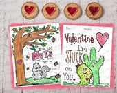 INSTANT DOWNLOAD Fun Kids Valentines Day Cards - Great for school Valentines party. Set of 4 -  Print in full color or b&w.
