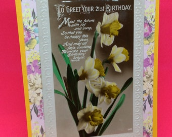 Vintage 21st Birthday card - upcycled vintage greetings card -21st birthday