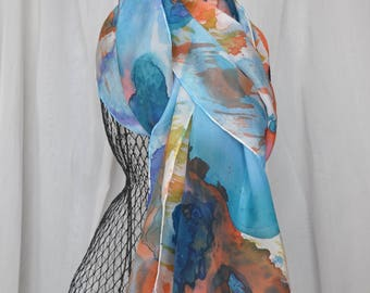 Silk Scarf, hand-painted, blue-orange-gold floral design, 14x72 inches