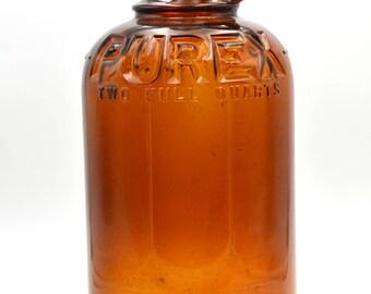Vintage Amber Purex Bottle 2 Quart, Antique Purex Bottle, Amber Bottle, Collectible Bottle
