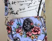 Star Wars Inspired Purse, Star Wars Inspired Bag, Crossbody Bag, Mini Messenger Bag, Darth Vader, Purple Purse, Floral Wars, Knitorious