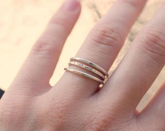 set of three sterling silver rings, set of 3 stackable 1.4 mm silver rings, hammered stacking rings