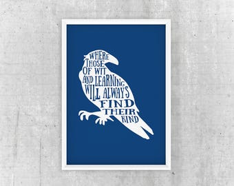 Ravenclaw Poster, Ravenclaw Wall Art, Ravenclaw Quote, Harry Potter wall art, Harry Potter Home Decor, Harry Potter Wall Art Poster