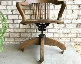vintage solid wood bankers chair wooden chair oak lawyers swivel chair old