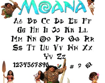 Moana font svg|Moana alphabet svg|Moana letters svg,dxf for Print/Silhouette Cameo/Cricut and Many More