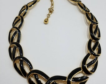 Gorgeous Gold Tone Ribbon Necklace with Black Enamel