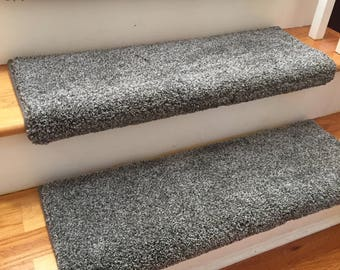 Dazzling Magma Grey Gray Plush Shag True Bullnose™ Carpet Stair Tread  - For Safety Comfort Dog Cat Pet (Sold Each)
