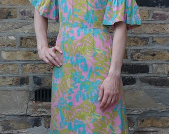 Vintage Psychedelic hippie 1960's linen print shift Dress with frill sleeve, XS