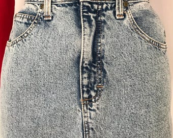 Acid wash skirt / 90s denim skirt / high waisted skirt / pencil denim skirt / jean skirts for women / made in usa / denim skirt medium