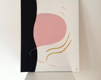 Abstract Painting Original Acrylic Painting Abstract Art Minimalistic Picture Pink Black Gold Painting Wall Painting 40*50 cm
