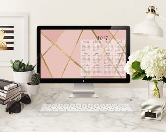 Calendar Desktop Wallpaper | 2017 Calendar Wallpaper | Pink & Gold Wallpaper Desktop Calendar 2017 | Instant Digital Download Calendar