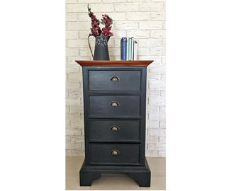 New Refurbished / Restored Slim Country Dresser Solid Timber Tallboy 4 Chest of Drawers
